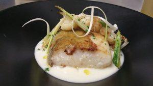 Emplatado del bacalao con coliflor y ajo tierno